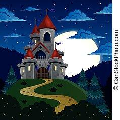 conte, château, scène, fée, nuit