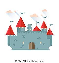 conte, château, tower., fée, dessin animé