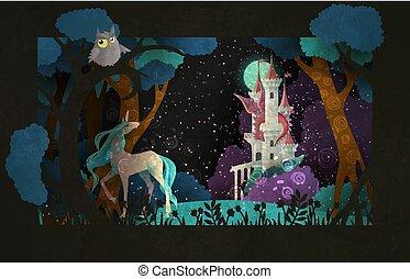 conte, ciel, licorne, couverture, illustration, lune, dragon, livre, nuit, devant, fée, château