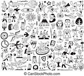 conte, doodles, fée