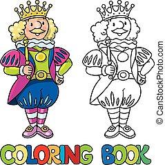conte, fée, coloration, king., livre