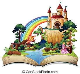 conte, fée, livre, ouvert