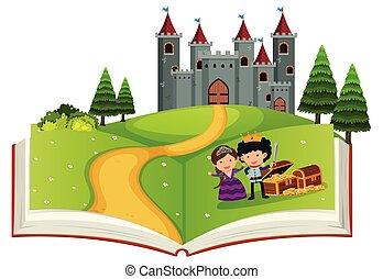 conte, fée, livre, ouvert, histoire