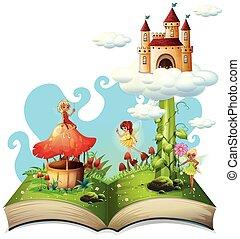 conte, fée, livre, ouvert, thème