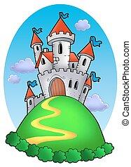 conte, fée, nuages, château