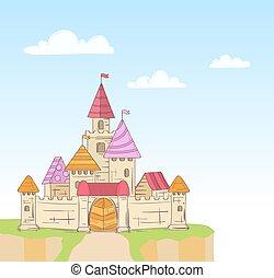 conte, fée, vecteur, dessin animé, castle.