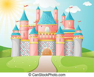conte fées, château, illustration.