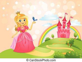 conte fées, princesse, château, beau