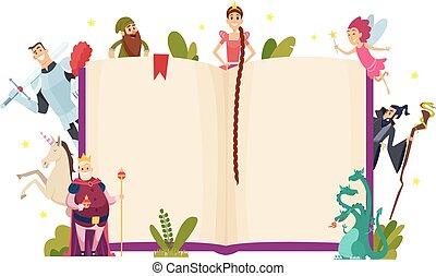 conte, gabarit, frame., vecteur, décoratif, fée, style, dessin animé, fantasme, fond, livre, caractères