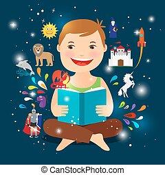 conte, livre, fée, lecture, dessin animé, gosse