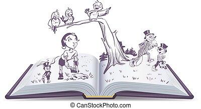conte, livre, illustration, pinocchio