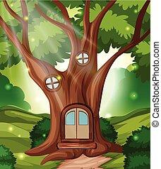 conte, maison, fée, forêt