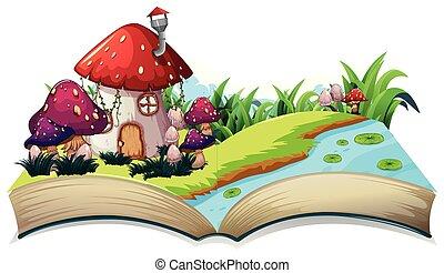 conte, maison, fée, livre, ouvert