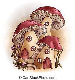 conte, maisons, fée, champignon, illustration