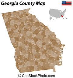 contea, mappa, georgia