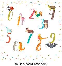 conteggio, divertente, animali, carino, infantile, illustrazione, numbers., imparare, cartone animato