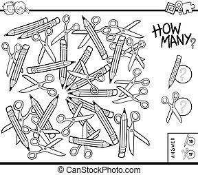 conteggio, educativo, compito, colorare, forbici, matite, libro