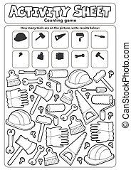 conteggio, foglio, gioco, attività, 9