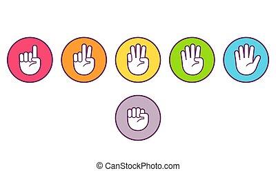 conteggio, mano, dito, icone