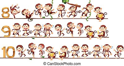 conteggio, numeri, scimmie