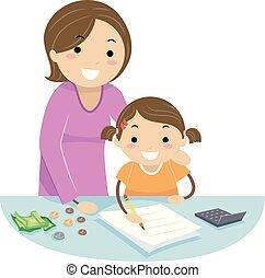 conteggio, stickman, madre, ragazza, insegnare, cambiamento, capretto