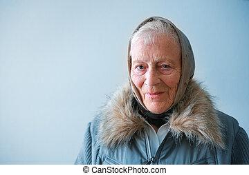contemplating., femme aînée, portrait