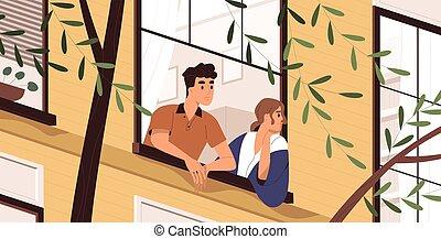 contemplating., primavera, ficar, saída, vetorial, style., ilustração, durante, bom, pessoas, desfrutando, pensando, quarentena, caricatura, apartamento, homem, respirar, mulher, ar, weather., lar, olhar, fresco, janela