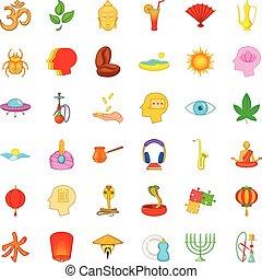 Contemplation icons set, cartoon style