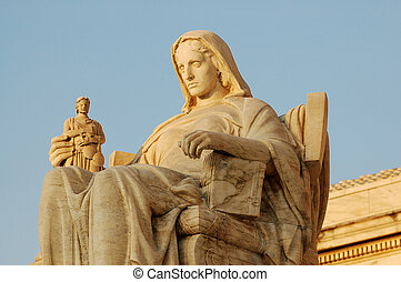 Statue in front of the United States Supreme Court in Washington, DC.