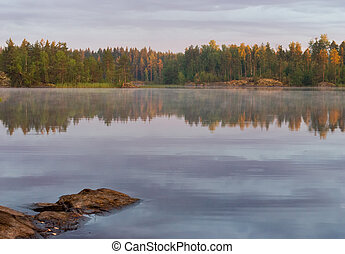 the view of the country lake and coniferous forest, Russia