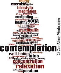 Contemplation word cloud concept. Vector illustration