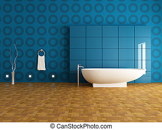 contemporáneo, azul, cuarto de baño
