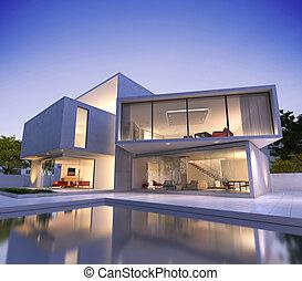 contemporáneo, casa, con, piscina