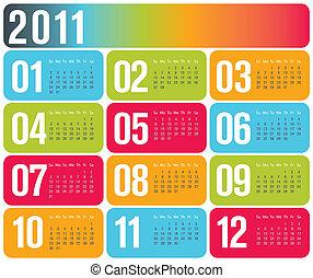 contemporáneo, diseño, calendario, 2011