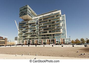 contemporáneo, edificio apartamento