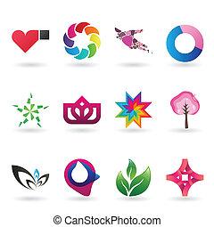 contemporáneo, logotipo, y, icono, colección