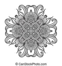 contemporáneo, mantelito, redondo, encaje, patrón floral