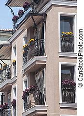 contemporáneo, residencial, edificio, primer plano