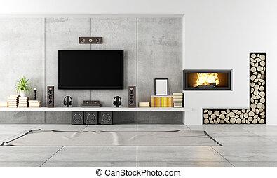 contemporáneo, salón, con, chimenea