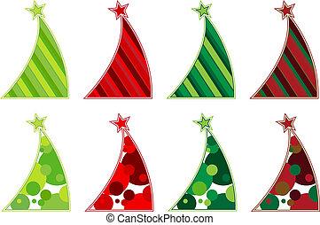 contemporâneo, árvores, natal