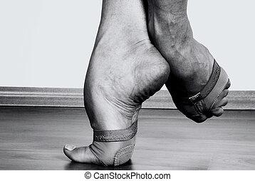 contemporâneo, dançarino, pés