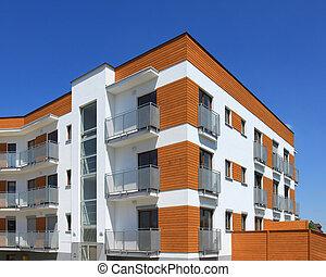 contemporâneo, edifício apartamento