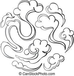 contemporâneo, nuvem, ilustração