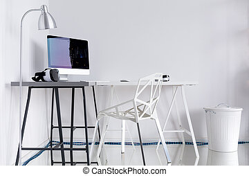 contemporain, bureau maison, à, blanc, murs