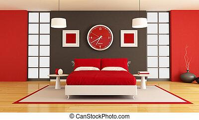 contemporain, chambre à coucher