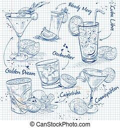contemporain, classiques, ensemble, page, cahier, cocktail