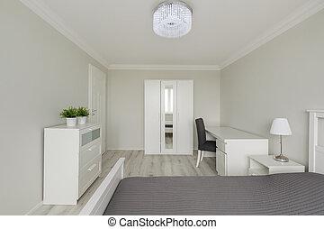 contemporain, conception, chambre à coucher, blanc