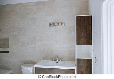 contemporain, minimaliste, piles, lavabo, chrome, sombrer