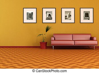 contemporain, orange, salle de séjour