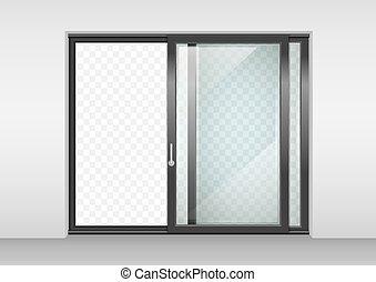 cloison verre porte centre commercial double effet clip art vectoriel rechercher des. Black Bedroom Furniture Sets. Home Design Ideas